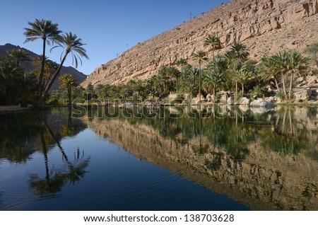 Water pools in Wadi Bani Khalid, Oman, Arabia - stock photo