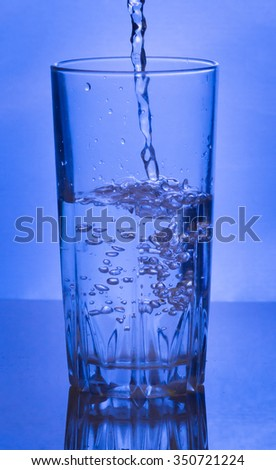 Water  poured from a bottle into a glass
