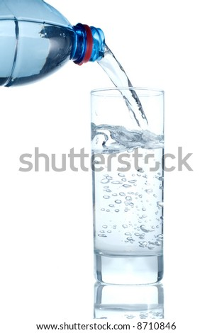 Water poured from the bottle to the glass on a white background