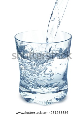 Water poured into a glass isolated on white