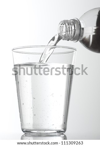 Water poured into glass, isolated on white background