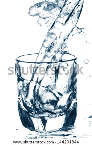 water pouring and splashing in glass isolated on white background