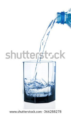 Water pouring from bottle into the glass