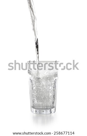 Water pouring into a glass isolated on white background