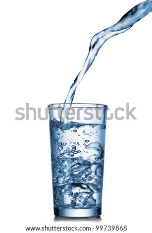 water pouring into glass isolated on white