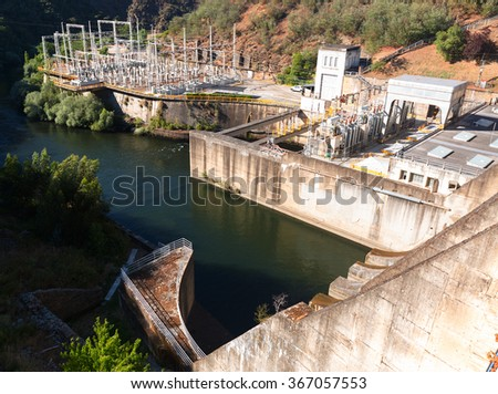 water power plant on Bibei river. Galicia, Spain