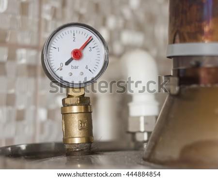 water pressure meter closeup photo - stock photo