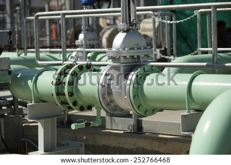 Water pump station for cooling tower in power plant. - stock photo