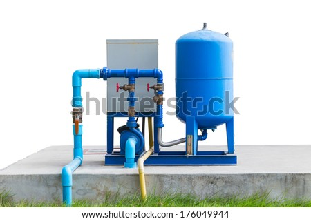 water pump system on concrete floor and white background with clipping path - stock photo