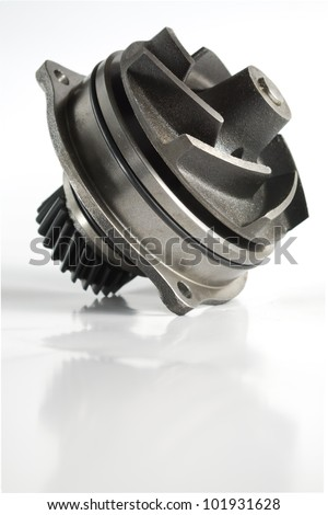 Water pump with reflection over white background. - stock photo