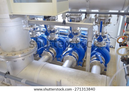 Water purification filter equipment in plant - stock photo