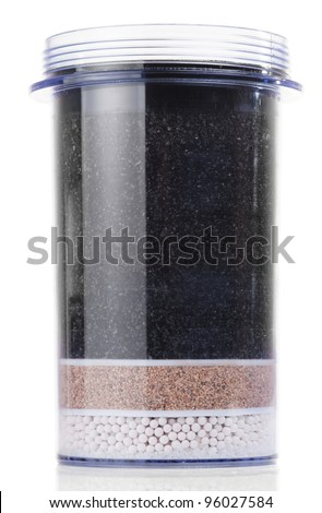 Water purification filter with charcoal, sand and zeotite, isolated - stock photo
