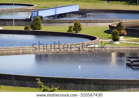 Water purification plant - stock photo