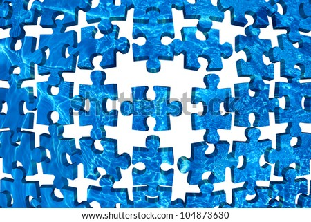 Water puzzle abstract background blue - stock photo