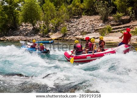 Water rafting on the rapids of river Koprucay (koprulu Canyon)  - stock photo