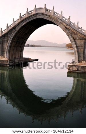 Water reflection of an Arch Bridge at The Summer Palace in Beijing, China.. - stock photo