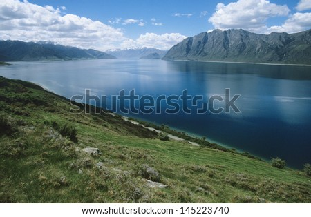 Water reservoir in mountain landscape