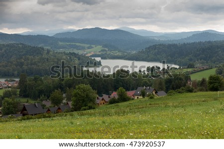 Water reservoir Solina in Bieszczady in Poland in cloudy weather