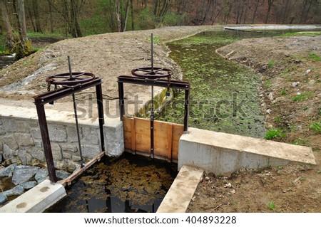 Water retention in landscape environment - stock photo