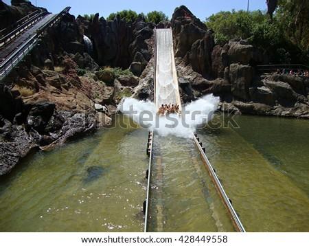 water ride at the amusement Park Port Aventura                                - stock photo