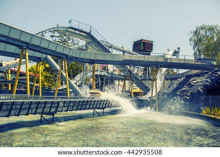 water roller coaster in the park  - stock photo