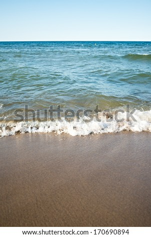 water, sand, waves. Beach in Central Europe