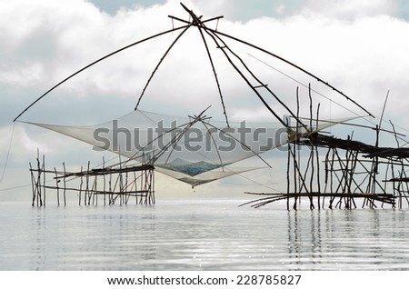 Water scape scene with square dip net in Patthalung,Thailand /Traditional fishing