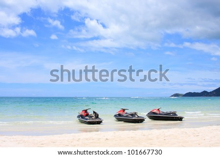 water scooter on the beach. Koh Samui,Thailand - stock photo