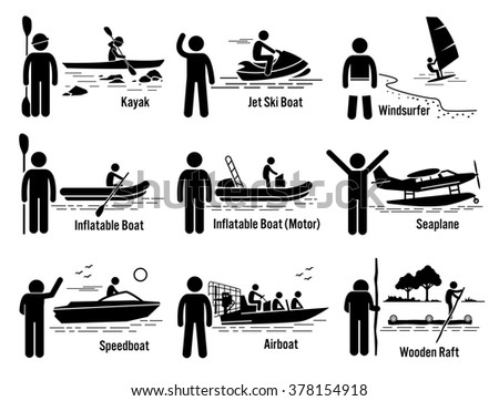 Water Sea Recreational Vehicles and People Set - Kayak, Jet Ski, Windsurfer, Inflatable Boat, Motorboat, Seaplane, Speedboat, Airboat, and Wooden Raft - stock photo
