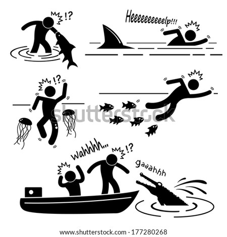 Water Sea River Fish Animal Attacking Hurting Human Stick Figure Pictogram Icon - stock photo