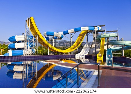 Water slide in blue, white and yellow. - stock photo
