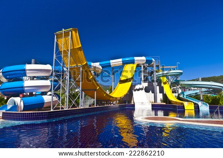 Water slide in blue, white and yellow.
