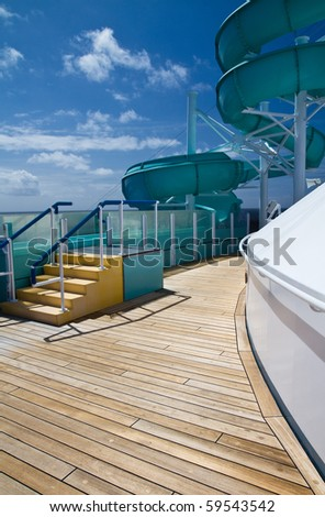 Water slide ready for use on a cruise ship - stock photo