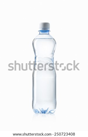 Water. Small plastic water bottle on white background - stock photo