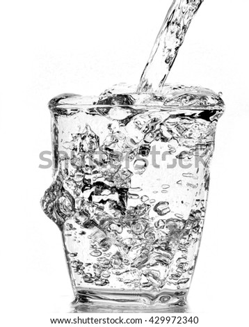 water splash - blue liquid wet wash splashing clear clean wave white gray background - stock photo