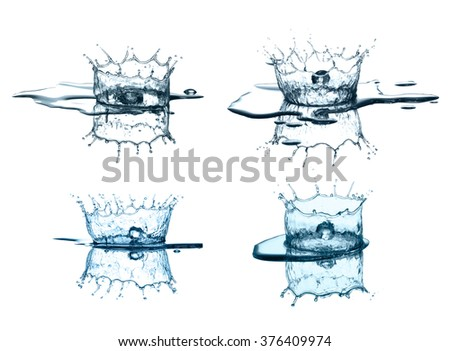 Water splash collection isolated in white background - stock photo