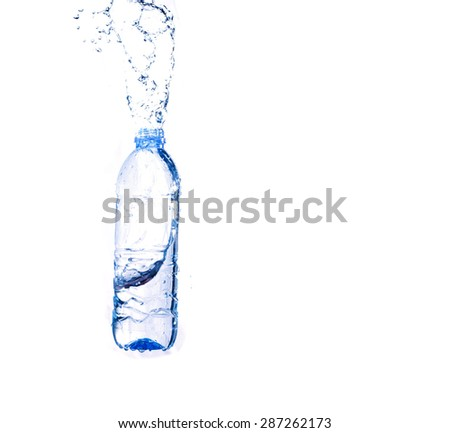 Water splash from a plastic bottle