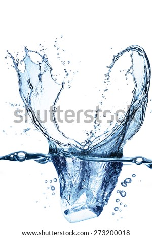 Water Splash From Ice Cubes - stock photo