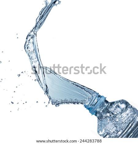 Water Splash from Water Bottle - stock photo