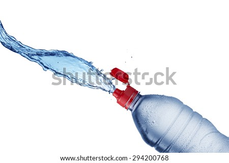 Water Splash From Water Bottle - stock photo