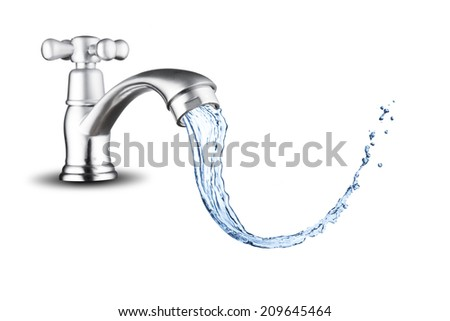 Water Splash from Water Faucet - stock photo