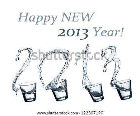 Water splash, Happy New 2013 Year - stock photo