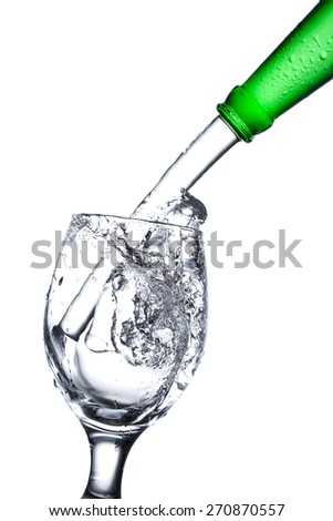 water splash in a glass, isolated on white background