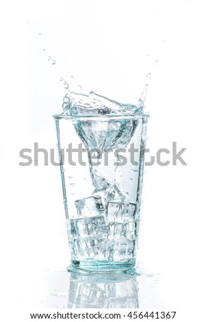 Water splash in a glass with ice cube.