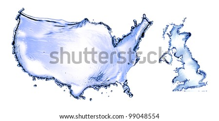 Water splash in concept USA and UK map isolated on white background