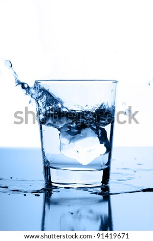 water splash in glass with ice