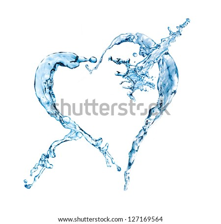 water splash in heart shape isolated on a white background
