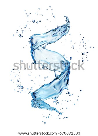 Water splash in the form of spiral blue color. 3D illustration