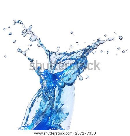 Water splash isolated in white background - stock photo