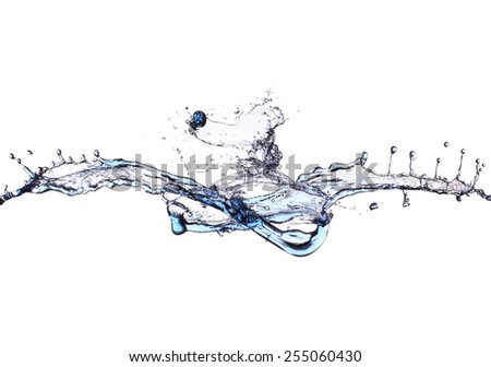 Water splash isolated on a white background - stock photo